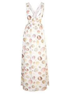 Agua By Agua Bendita sea shell print maxi dress - White