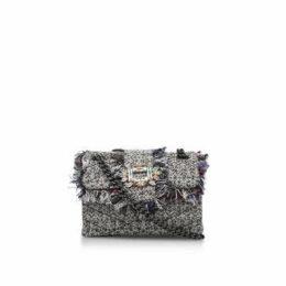 Kurt Geiger London Tweed Mini Mayfair Bag - Grey Embellished Tweed Mini Shoulder Bag