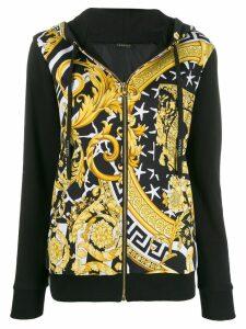 Versace printed zip-front hoodie - Black