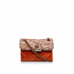 Kurt Geiger London Velvet Mini Kensington - Orange Embellished Mini Shoulder Bag