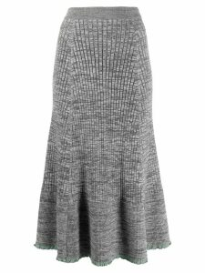 Jil Sander ruffle knitted midi skirt - Grey