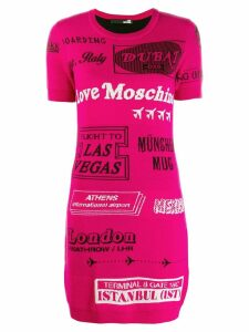 Love Moschino intarsia knitted mini dress - Pink
