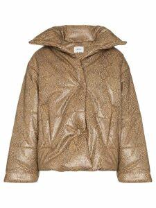 Nanushka Hide snakeskin-print puffer jacket - Brown