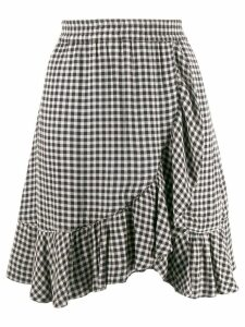 Ganni check print skirt - Black