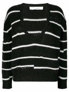 Iro Clymer striped v-neck jumper - Black