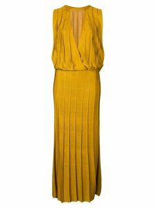 Cushnie sleeveless pleated midi dress - Yellow