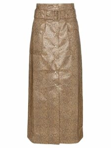 Nanushka Aarohi snake-effect midi skirt - Brown