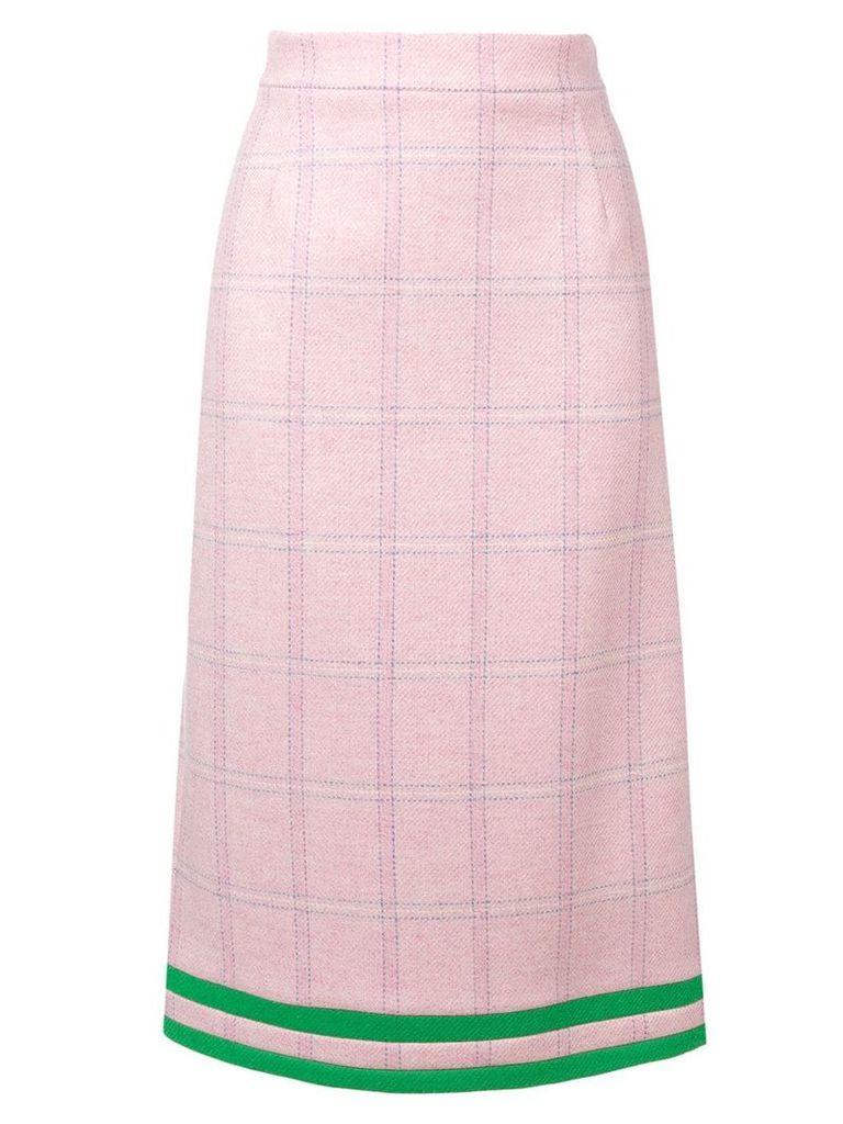 Thom Browne Pink Windowpane Tweed Pencil Skirt