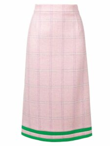 Thom Browne Pink Windowpane Tweed Pencil Skirt
