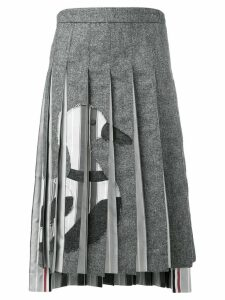 Thom Browne Frayed Duck Pleated Skirt - Grey