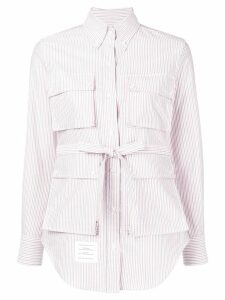 Thom Browne Striped Oxford Hunting Shirtdress - Red