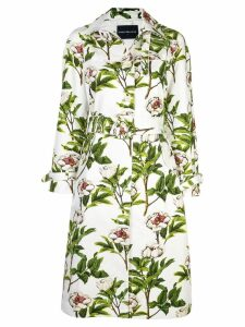 Samantha Sung peony print trench coat - White