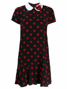 Red Valentino hearts printed dress - Black