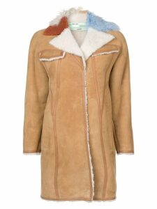 Off-White contrast collar shearling coat - Neutrals