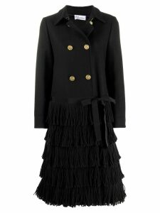 Red Valentino fringed double-breasted coat - Black