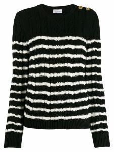 Red Valentino cable knit striped sweater - Black