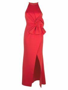 Badgley Mischka empire line bow dress - Red