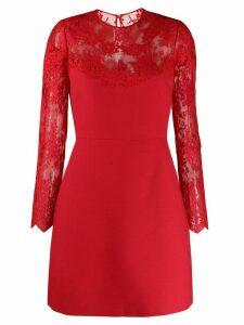 Valentino lace illusion-neck dress - Red
