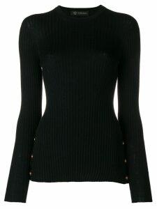 Versace medallion-embellished ribbed sweater - Black
