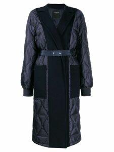 Sport Max Code felt-panelled puffer coat - Blue