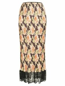 Paco Rabanne rose print midi skirt - V007 Multicoloured