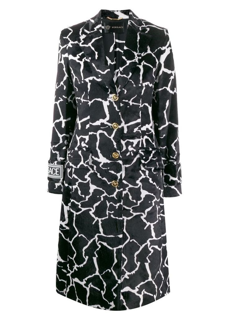 Versace marble effect printed coat - Black