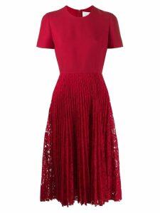 Valentino pleated lace midi dress - Red