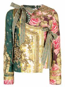 Oscar de la Renta collarless embellished jacket - Green