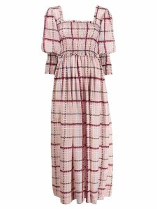 Ganni check ruched maxi dress - Pink