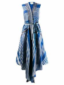 Rahul Mishra striped drape dress - Blue