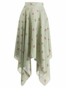 Loewe floral asymmetric skirt - Green