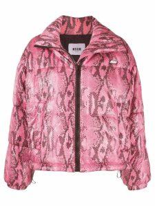 MSGM python print cropped puffer jacket - Pink