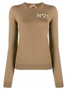Nº21 textured logo jumper - Brown