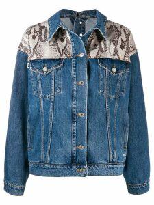 MSGM python print denim jacket - Blue
