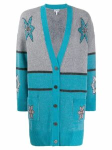 Loewe intarsia knit patterned cardigan - Blue