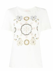 Tory Burch embroidered T-logo Medallion T-shirt - Neutrals