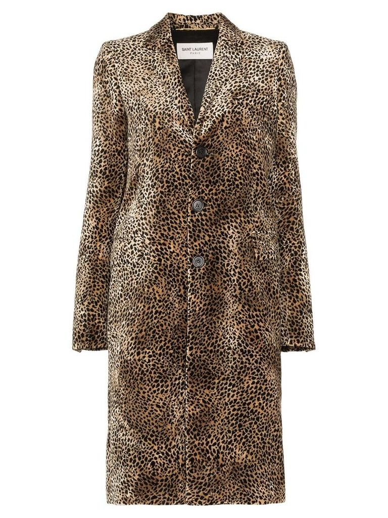 Saint Laurent single-breasted leopard-print coat - Brown
