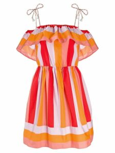 Twin-Set striped ruffle dress - Orange