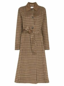 Nanushka Alamo checked robe coat - Brown