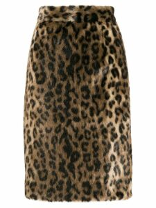Nº21 furry pencil skirt - Black