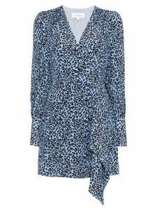 Les Reveries leopard-print wrap dress - Blue