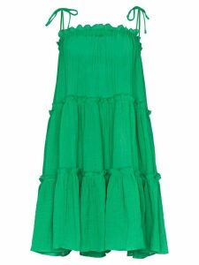 Lisa Marie Fernandez ruffle tiered peasant dress - Green