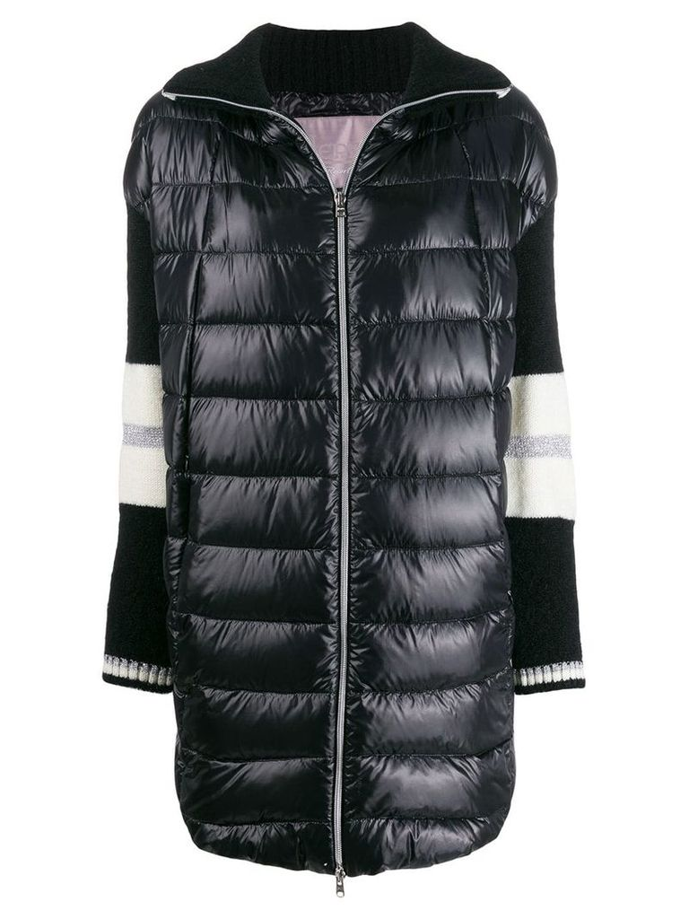 Herno knitted sleeve quilted coat - Black