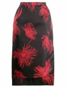 Nº21 floral print pencil skirt - Black