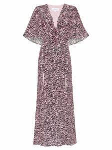 Les Reveries leopard-print silk maxi dress - Pink Leopard