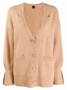 Pinko accent button cashmere cardigan - Neutrals