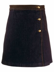 Tory Burch denim pleat detail skirt - Blue