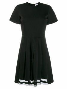 Red Valentino short-sleeve pleated dress - Black