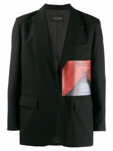 Yuiki Shimoji Gates print patch blazer - Black