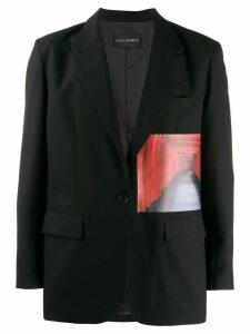 Yuiki Shimoji Gates print patch blazer - Black